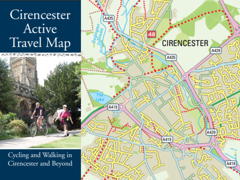 A map of cycle routes in and around Cirencester