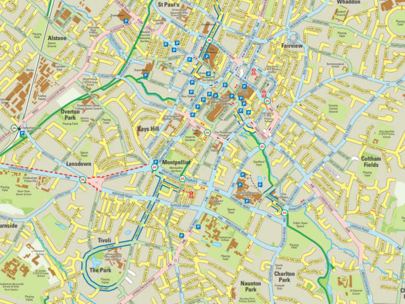 An excerpt from our cycling maps showing cycle lanes and routes with clear ability grading