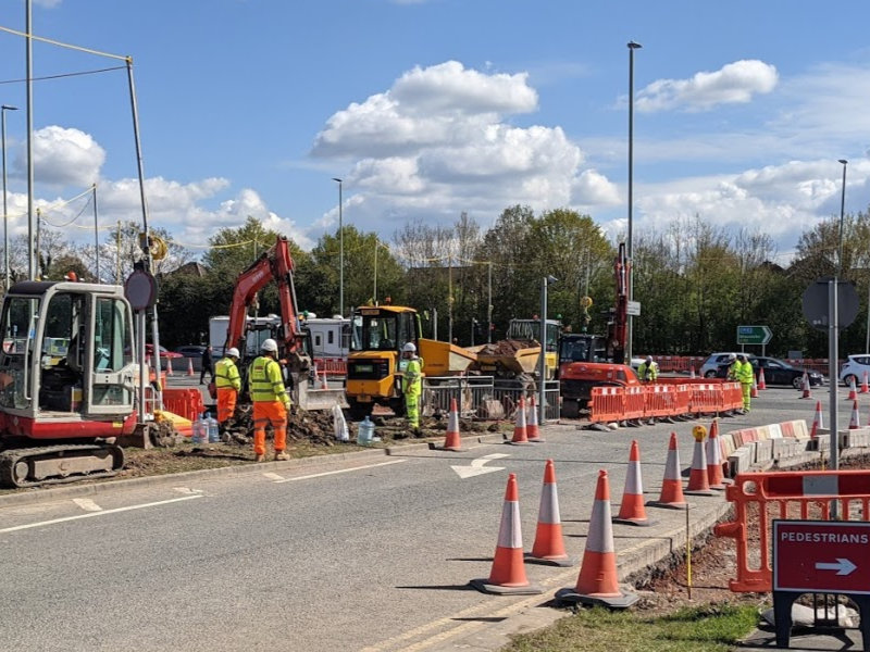 Construction work on the A40 near GCHQ for the cyber central west cheltenham transport improvement scheme WCTIS
