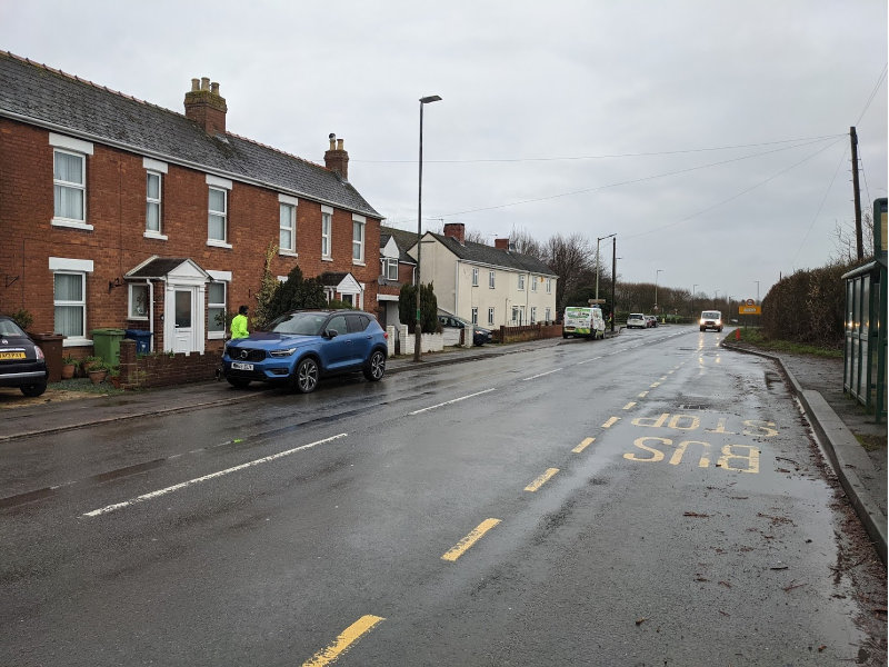 B4063 road approaching churchdown, which Gloucestershire county council are proposing becomes a cycle lane