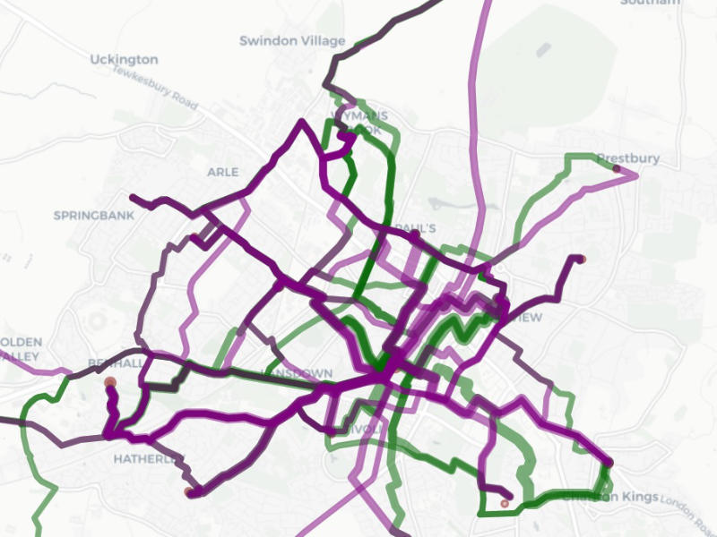An extract from the propensity to cycle tool showing desire routes and opportunities in Cheltenham