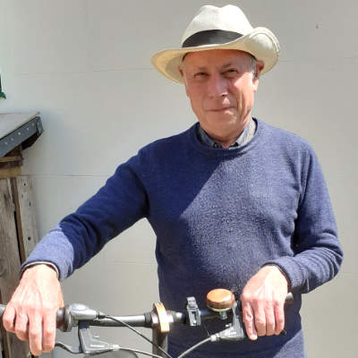 A photo of Andre, chair of the cycling campaign, in the sunshine