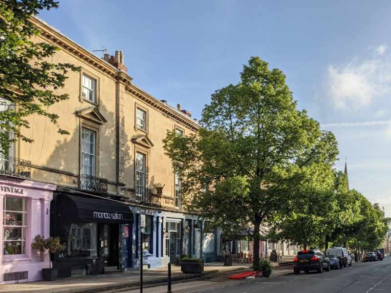 Montpellier street in the early morning sunshine