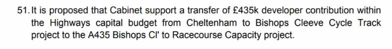A statement from the cabinet papers saying that the cabinet supports a transfer from the Cheltenham to Bishop's Cleeve Cycle path