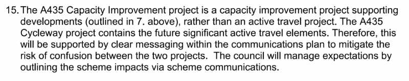 An extract of the Gloucestershire County Council cabinet papers describing the A435 as 'a capacity improvement project...rather than an active travel project'