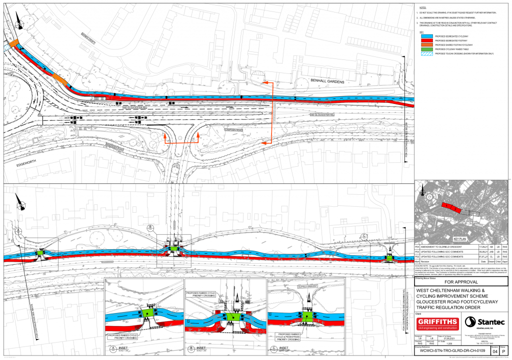 A plan of the first section from Benhall Roundabout to Granley Gardens, showing the cycleway proposal